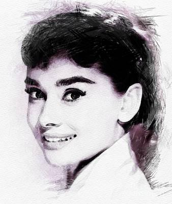 Actors Digital Art - Audrey Hepburn, Vintage Actress by John Springfield