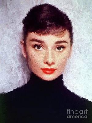 Actors Digital Art - Audrey Hepburn, Vintage Actress by Mary Bassett