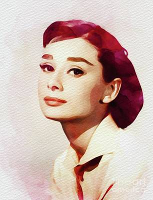 Painting - Audrey Hepburn, Vintage Movie Star by John Springfield