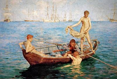 Painting - August Blue  by Henry Scott Tuke