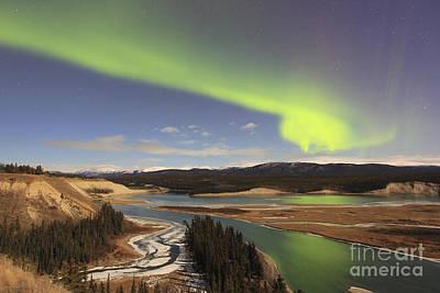 Yukon River Photograph - Aurora Borealis Over The Yukon River by Joseph Bradley
