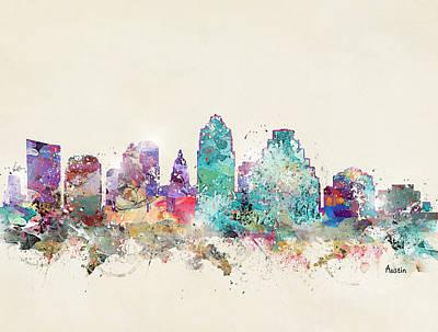 Colourfull Painting - Austin City Texas by Bleu Bri