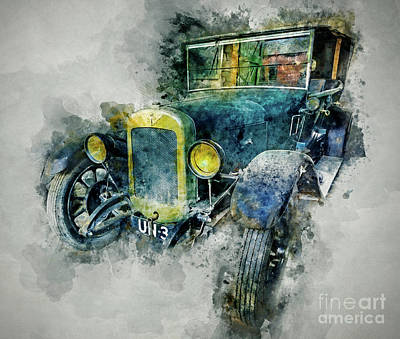 Antique Cars Mixed Media - Austin Seven by Ian Mitchell
