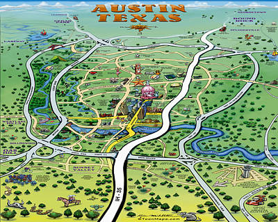 Digital Art - Austin Texas Cartoon Map by Kevin Middleton