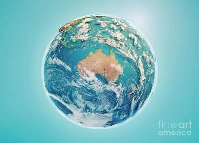 Australia 3d Render Planet Earth Clouds Art Print