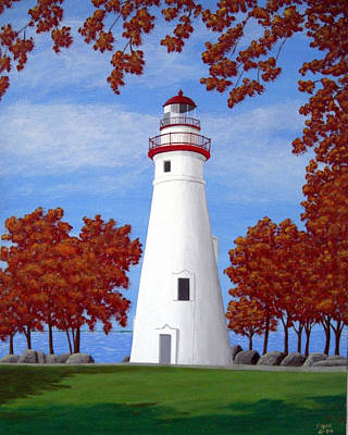 Historic Lighthouse Images Painting - Autumn At Marblehead by Frederic Kohli