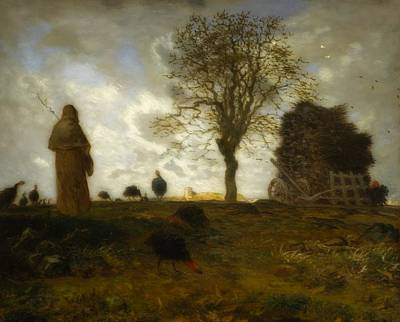 Autumn Landscape With A Flock Of Turkeys Millet Painting - Autumn Landscape With A Flock Of Turkeys by Jean Francois Millet