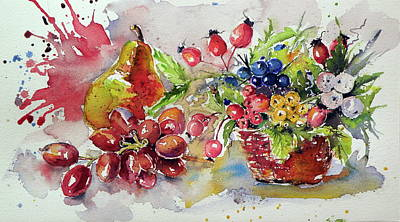 Pears Painting - Autumn Still Life by Kovacs Anna Brigitta