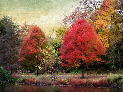 Red Leaf Digital Art - Autumn's Canvas by Jessica Jenney