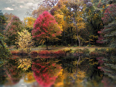 Red Leaf Digital Art - Autumn's Mirror by Jessica Jenney
