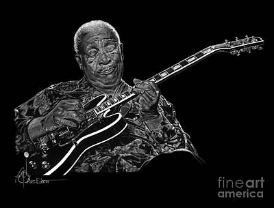 Famous People Drawing - B B King by Murphy Elliott