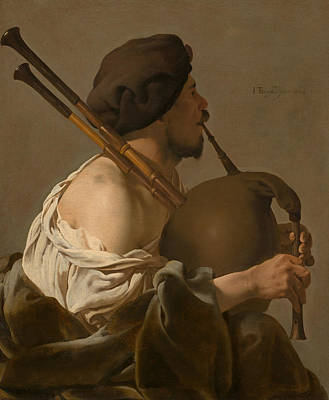Bagpipes Wall Art - Painting - Bagpipe Player  by Hendrick ter Brugghen