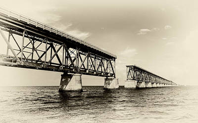 Florida Keys Train Railroad Photograph - Bahia Honda Bridge by Gary Oliver