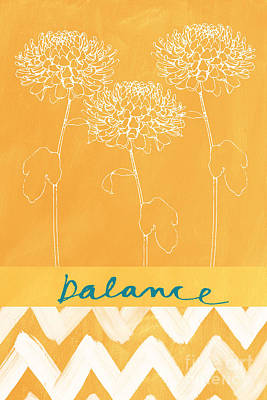 Orange Painting - Balance by Linda Woods