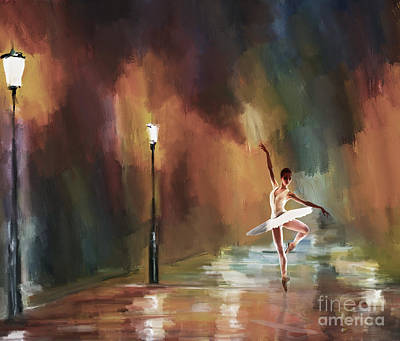 Ballerina Painting - Ballerina Dance  by Gull G
