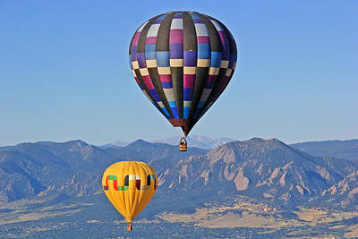 Hot Boulders Photograph - 2 Balloons Flying Over The Flatirons by Scott Mahon