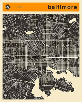 Baltimore Digital Art - Baltimore Map by Jazzberry Blue