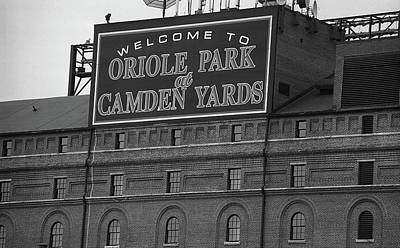 Historic Photograph - Baltimore Orioles Park At Camden Yards Bw by Frank Romeo