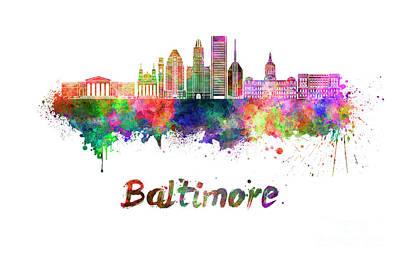 Baltimore Skyline In Watercolor Art Print by Pablo Romero