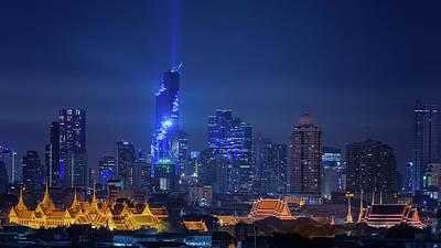 Lightshow Photograph - Bangkok Cityscape by Anek Suwannaphoom