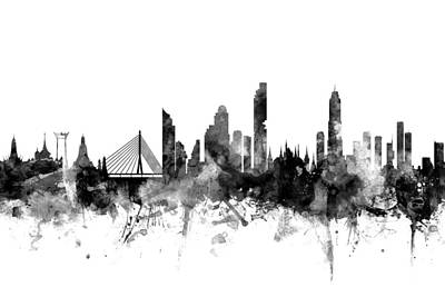 Bangkok Digital Art - Bangkok Thailand Skyline by Michael Tompsett