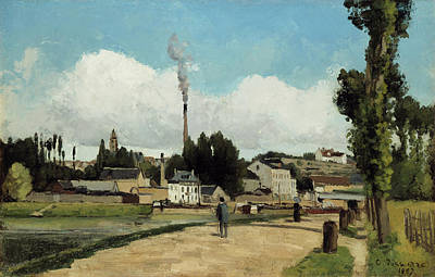 Panorama Painting - Banks Of The Oise At Pontoise by Camille Pissarro