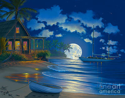 Moonlit Painting - South Seas Paradise by Al Hogue