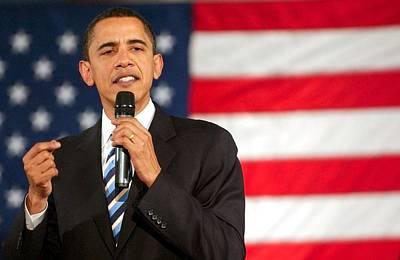 Barack Obama On Stage For Barack Obama Art Print