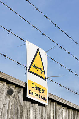 Barbed Wire Fence Art Print by Tom Gowanlock