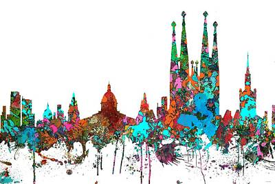 Digital Art - Barcelona Spain Skyline by Marlene Watson