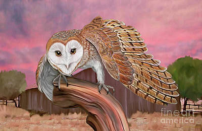 Digital Art - Barn Owl by Walter Colvin