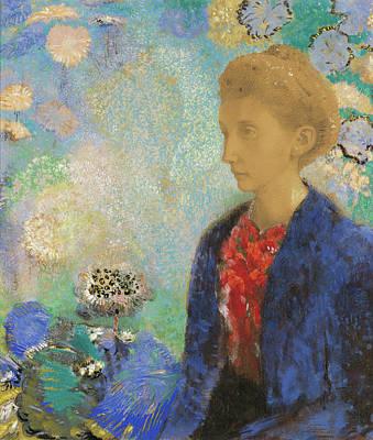 Symbolist Painting - Baronne De Domecy by Odilon Redon