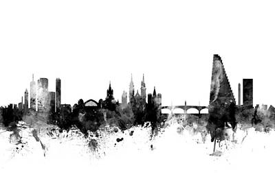 Basel Digital Art - Basel Switzerland Skyline by Michael Tompsett