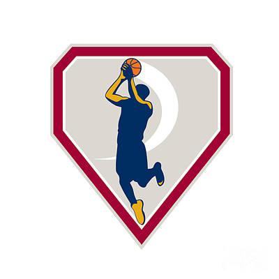 Scoring Digital Art - Basketball Player Jump Shot Ball Shield Retro by Aloysius Patrimonio