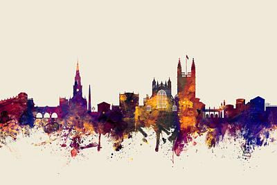 Great Britain Digital Art - Bath England Skyline Cityscape by Michael Tompsett