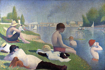 Bath Painting - Bathers At Asnieres by Georges Seurat