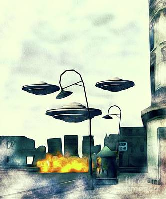 Science Fiction Paintings - Battlefield Earth - UFO Invasion by Raphael Terra