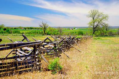 Split Rail Fence Photograph - Battlefield Landscape by Paul W Faust - Impressions of Light