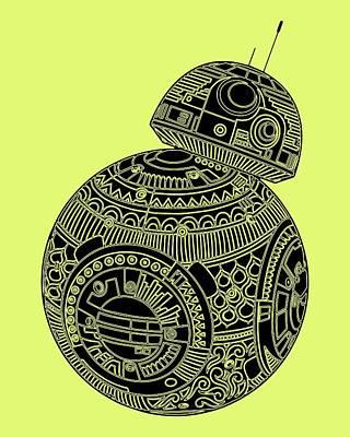 Movie Star Mixed Media - Bb8 Droid - Star Wars Art, Brown by Studio Grafiikka