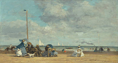 Painting - Beach At Trouville by Eugene Boudin