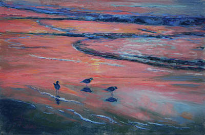 Sandpiper Painting - Beach Combers by Billie Colson