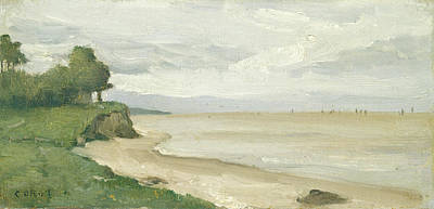 Painting - Beach Near Etretat by Jean-Baptiste-Camille Corot