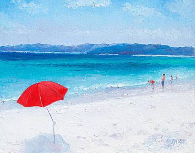 Red Painting - Beach Paddling by Jan Matson