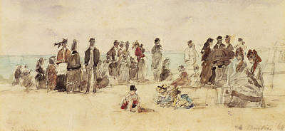 People On Beach Wall Art - Painting - Beach Scene by Eugene Louis Boudin