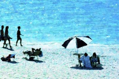 Beach Walk Art Print by Florene Welebny
