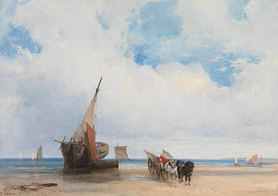 Beached Vessels And A Wagon, Near Trouville, France Art Print by Richard Parkes Bonington