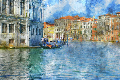 Old Town Digital Art - Beautiful Canal Scene In Venice, Italy by Brandon Bourdages