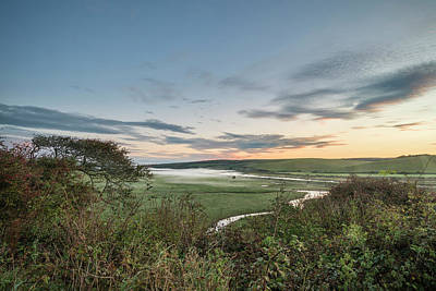 Photograph - Beautiful Dawn Landscape Over English Countryside With River Slo by Matthew Gibson