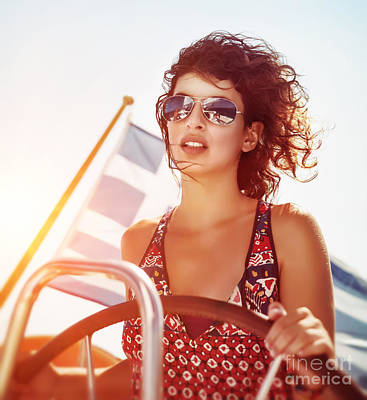 Photograph - Beautiful Woman Driving Sailboat by Anna Om