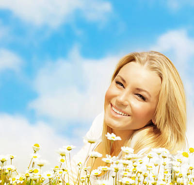Beautiful Woman Enjoying Daisy Field And Blue Sky Art Print